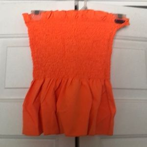 Strapless Orange Peplum Top